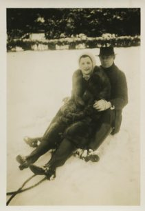 Beryl Taylor and Frank Brown on a sledge.