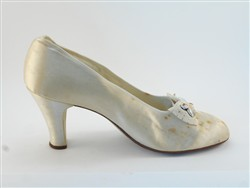 Satin wedding shoes.