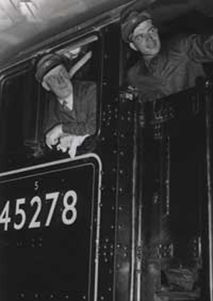 The Driver and Fireman of the Royal Train pulled by Engine no. 45278 of the Stanier Class - named after Sir William Stanier (1876-1965), Chief Engineer of  LMS Railway from 1932.