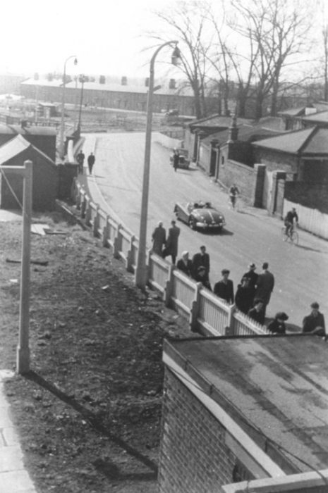 The approach to Bletchley Railway Station showing Railway Terrace in background in 1950. Illustrative photograph supplied by kind permission of Bletchley Community Heritage Initiative.  (Accession Ref: BLE/P/212).