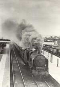 Under full steam at Bletchley station c. 1950s.