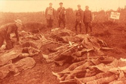 Slide of a photograph of corpses