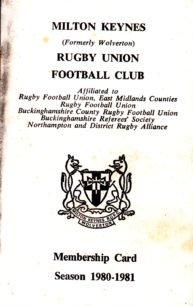 Milton Keynes Rugby Union Football Club Membership Card 1980-1981