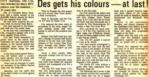 'Des gets his colours - at last'