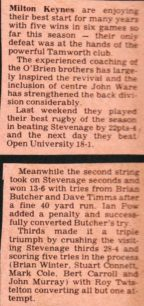 A further report of results against Stevenage and the Open University