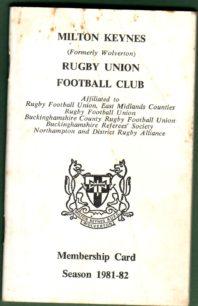 Milton Keynes Rugby Union Football Club Membership Card 1981-1982