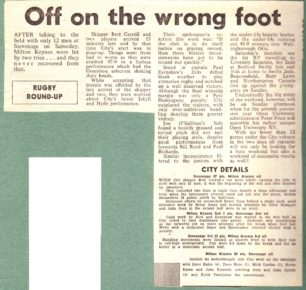'Off on the wrong foot'; 'Sport in brief';
