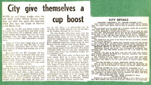 City give themselves a cup boost';  'Rugby clubs are in top form';