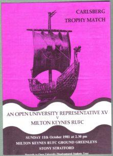 Match program - Open University Representative XV v MK RUFC;