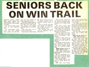 'Seniors back on win trail';  'City are out on their own!'; results roundup