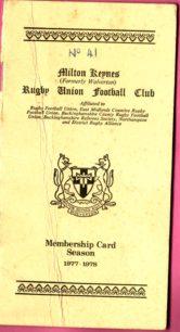 Milton Keynes Rugby Union Football Club Membership Card 1977-1978