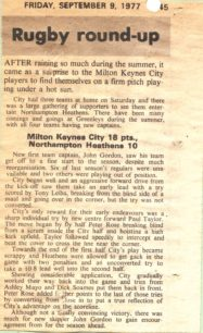Rugby Round-up, September 1977