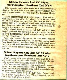'Milton Keynes 2nd XV 16pts, Northampton Heathens 2nd XV 4'.