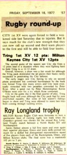 'Rugby round-up'.  'Ray Longland trophy'