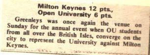 'Milton Keynes 12 pts, Open University 6 pts'