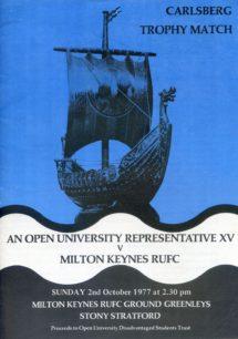 Programme for the Carlsberg Trophy Match. 'An Open University Representative XV verses Milton Keynes RUFC'.