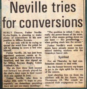 'From Pulpit to Second Row, Neville tries for conversions'.