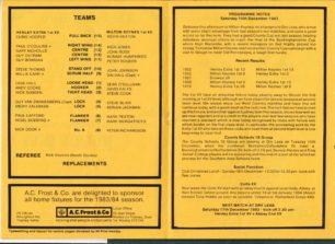 Match brochure MKRUFC 1st XV 10 December 1983