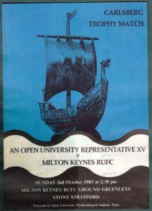 Carlsberg Trophy Match Programme 'An Open University Representative Team v Milton Keynes RUFC'.