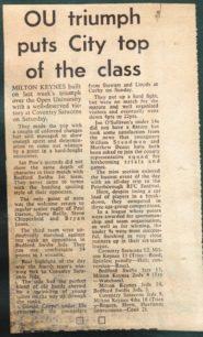 OU triumph puts City top of the class'.
