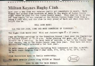 An MK Rugby Club publicity leaflet and press reports