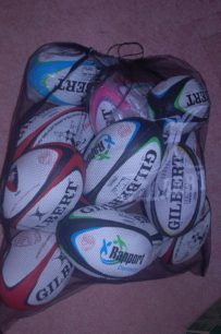 Net Bag of 14 MKRUFC Rugby Balls: