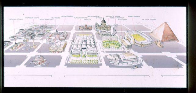City centre area showing size