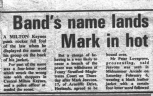 Band's name lands punk rocker Mark Jeavons in hot water [newspaper cutting]