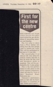 First for the new centre [newspaper article]