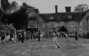 A performance on the lawn at Rectory Garden, Linford, 1980