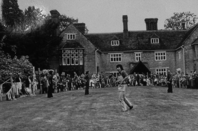 A performance on the lawn at Linford Manor 1980