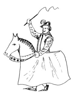 Drawing of a man riding on a hobby horse 1981