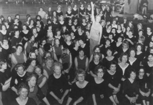Keep Fit Rally hosted by Eileen Fowler at Radcliffe School, Wolverton, mid-1970s.