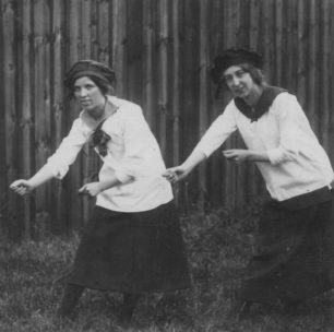 Photograph of 2 girls from Stantonbury girls club at Stantonbury Hospital fete