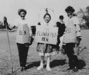 Sheila Alderman, Anne and Susan Morley as 'Bill and Ben the Flowerpot Men', 1956.