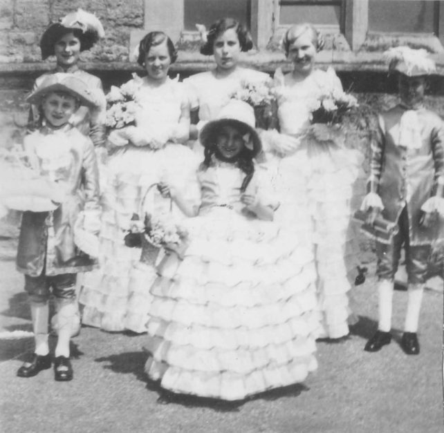 Sylvia Blunt and Lillian Ellis in fete costumes.