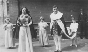New Bradwell Coronation Review, 1937. Carnival King  and Queen  with helpers.