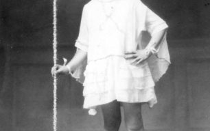 Girl in costume for Charlie Scott's Pantomime.
