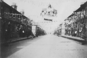 Silver Jubilee, May 1935. Decorated street in New Bradwell.