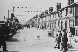 Bridge Street, New Bradwell decorations for Silver Jubilee, May 1935.