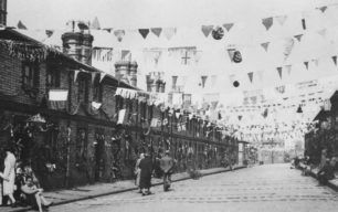 Company houses decorated for Coronation of King George VI and Queen Elizabeth.