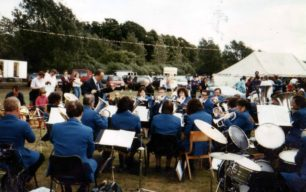 Bradwell Silver Band playing at May Day at the Mill.