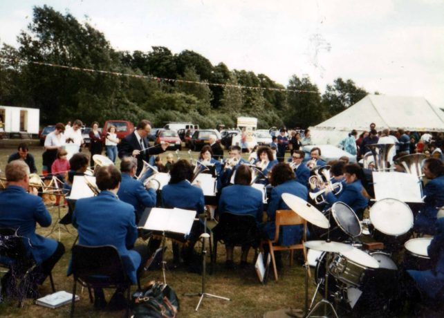 Bradwell Silver Band playing at May Day at the Mill.