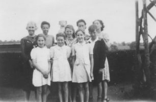 Mrs Battison, Maud Squire, Mavis Cook, Madge Cook, Lucy Cook, front row Janet Battison, Doreen Cook, Molly Squire, Ken Cook.