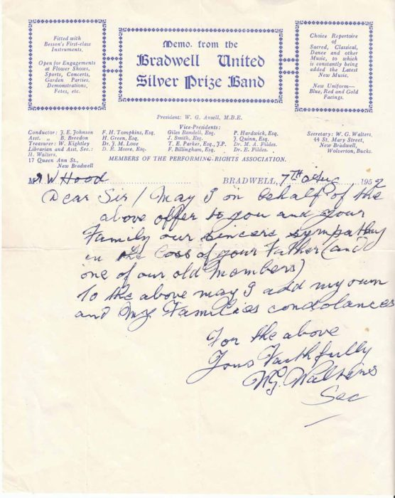 Handwritten memo from the Bradwell United Silver Prize Band