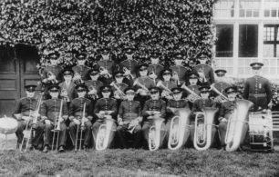 Bradwell Silver Band posing with their bandmaster Edgar Johnson in  1932.