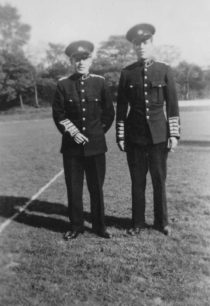 Bradwell Silver Band, Tom Kelly and Charlie Homer in the band's new uniform, 1948.