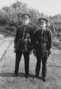Bradwell Silver Band members in uniform in back garden.