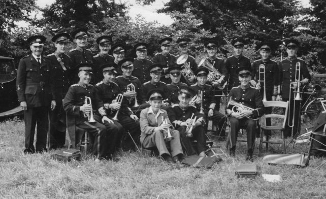 Bradwell Silver Band with instruments at Gawcott Garden Fete