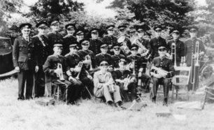 Bradwell Silver Band with instruments at Gawcott Garden Fete, Buckingham, 1951.